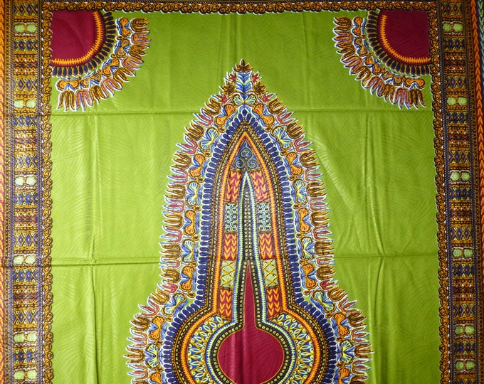 African Fabrics Cotton Dashiki /Makenzi Wax Prints Olive Green Sold By 2 Yards