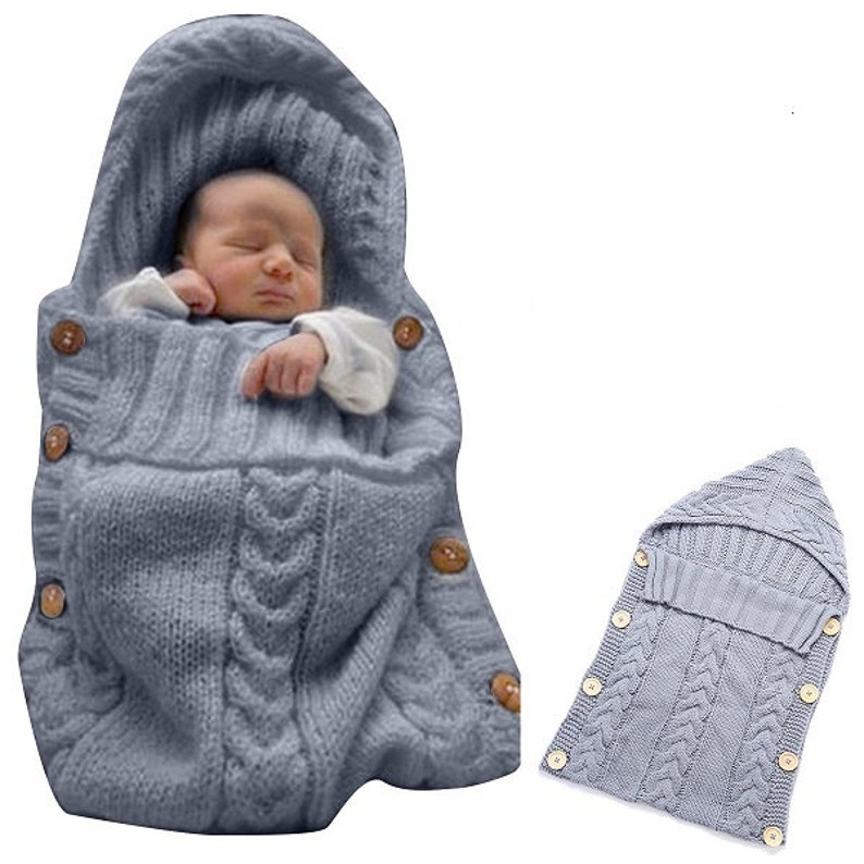 eca5e1f6d28e Newborn Baby Wrap Swaddle Blanket Baby Kids Toddler Wool Knit