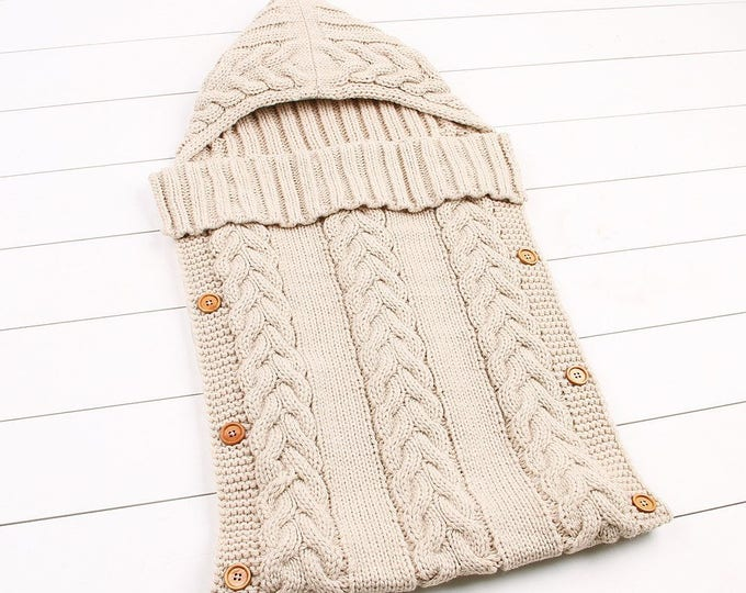 Newborn Baby Wrap Swaddle Blanket, Baby Kids Toddler Wool Knit Blanket Swaddle Sleeping Bag Sleep Sack Stroller Wrap for 0-12 Month(Kahki)