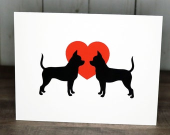 Chihuahua Valentine's Day Cards, Note Cards, Pack of Chihuahua Valentine Dog Cards