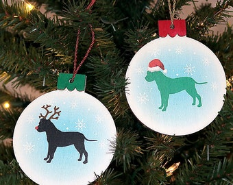 pit bull christmas tree ornaments pair of holiday pitbull ornaments staffordshire terrier wood christmas ornament