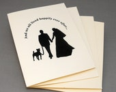 Dog Wedding Cards, Engagement or Wedding Thank You Cards 4 Pack