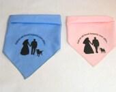 Wedding Dog Bandana. Labrador, Pug Puggle, or Dachshund silhouette.