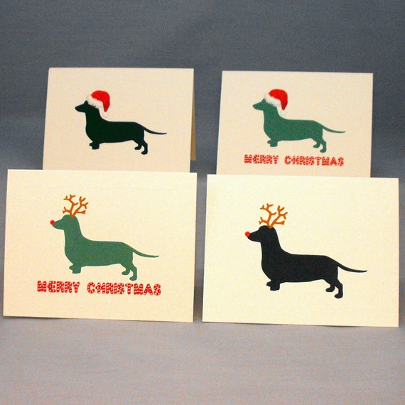 Dachshund Dog Christmas Card Set Doxie Holiday Cards  530c50c01