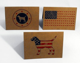 Labrador Retriever Patriotic Greeting Cards Set of 3 Dog Note Cards