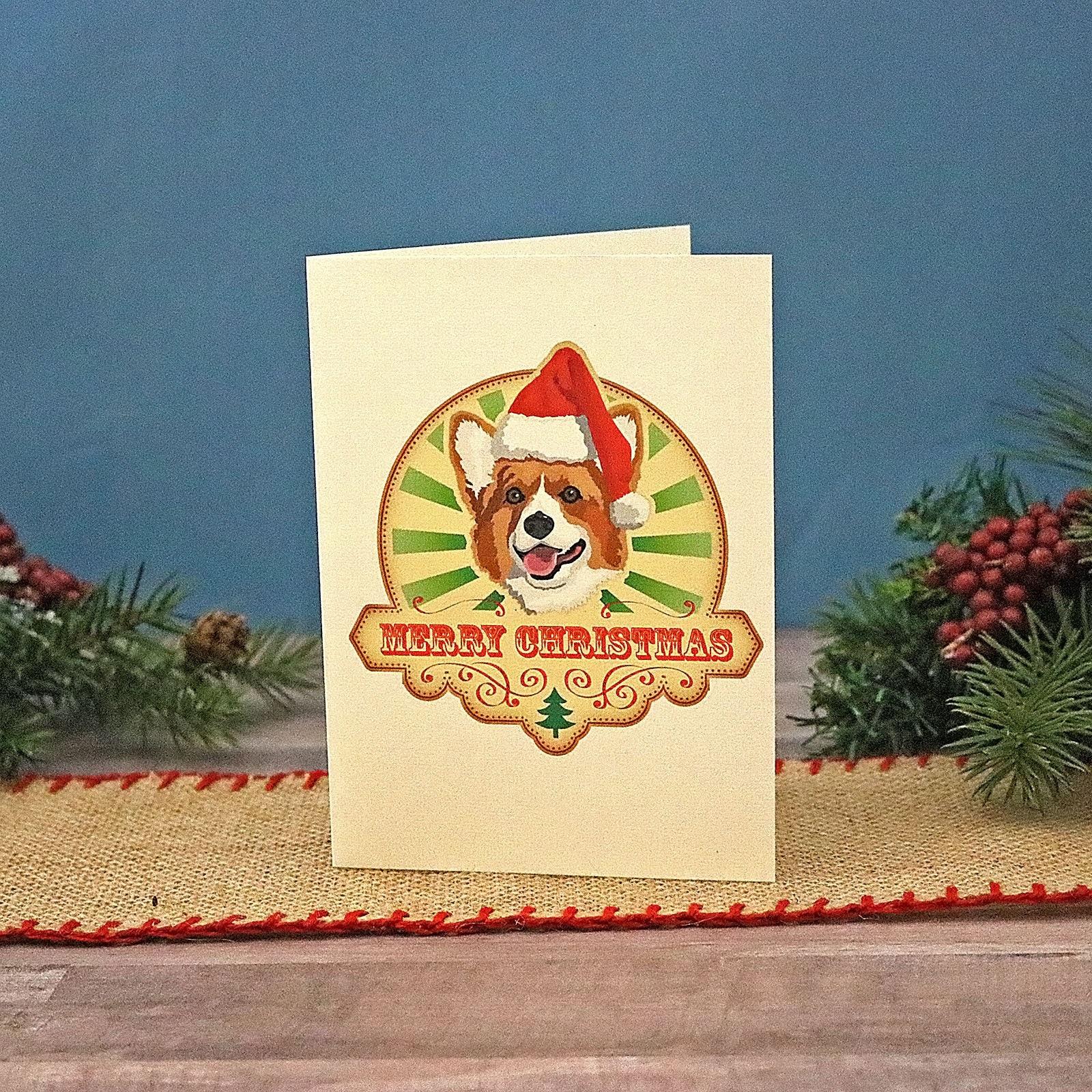 Corgi Christmas Cards Holiday Cards Pack Corgi Dog Santa | Etsy