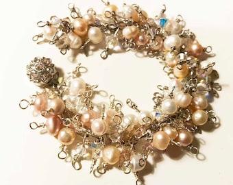 Bridal Ivory White Freshwater Pearls and Swarovski Crystals Cluster Bracelet