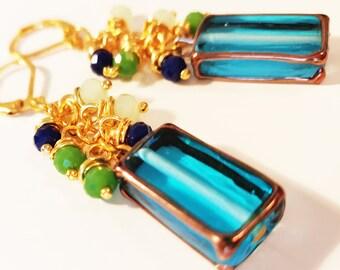 Teal Aqua Blue Rectangular Cube Glass Lamp Cluster Earrings