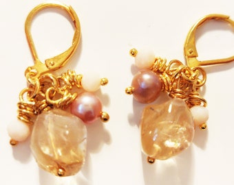 Citrine Freshwater Pearls Cluster Gold Earrings