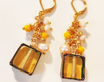 Canary Yellow Half Cube Square Glass Lamp Cluster Earrings