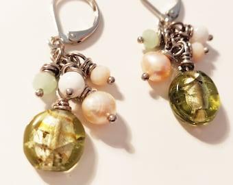 Olive Glass Cluster Earrings