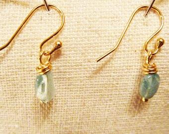 Gold Dainty Pale Blue Aqua Apatite Dangly Earrings