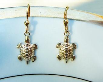 18K Gold filled Dainty Turtles Earrings