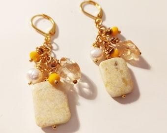 Yellow Rectangular Jade Citrine Freshwater Pearls Cluster Gold Earrings