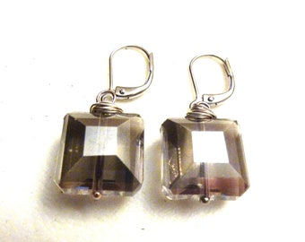 Smoky Grey Wire Wrapped Square Crystal Earrings