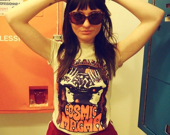 Cosmic Magma Vintage 70s Inspired Tee - women t shirt- psychedelic graphic tshirt
