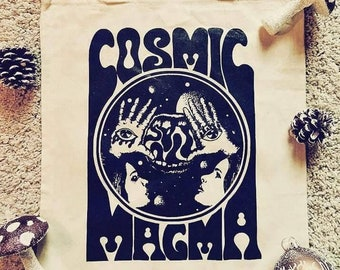 Cosmic Magma Vintage 70s Inspired tote bag - unisex bag - psychedelic graphic BLACK