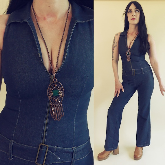 Vintage 70s denim jeans jumpsuit stretch