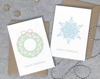 Multipack of Modern Christmas cards (pack of 4): snowflake, wreath, bauble, star, geometric greeting cards, fun Christmas cards