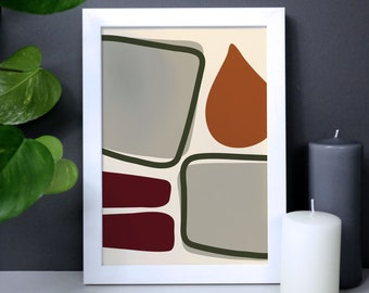 Abstract shapes wall art in warm autumn colours, burnt orange and green poster, organic shapes print, burnt ochre art, housewarming gift