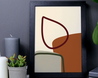 Cosy fireplace abstract wall art, organic shapes, geometric print, burnt orange and green art, burnt ochre, autumnal abstract poster