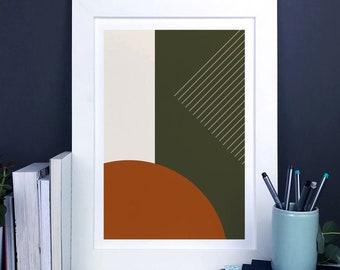 Minimal Abstract Geometric Print In Earth Tones, orange and green shapes print, modern geometric wall art, minimal home decor