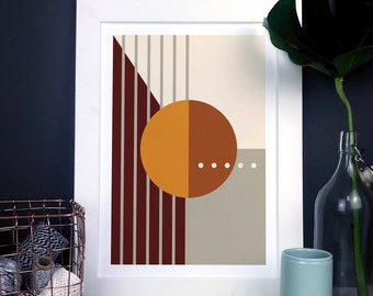 Modern Abstract Shapes Print In Browns And Oranges, geometric wall art, natural earth tones home decor, minimal shapes poster, housewarming