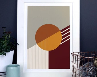 Abstract Geometric Print In Orange Earth Tones, brown and orange modern abstract shapes print, housewarming gift, minimal home decor