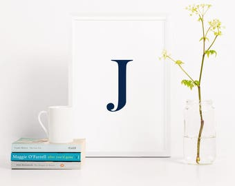 Serif letter typography print, initial poster, black and white letter print, monogram poster, home office wall art, monochrome print