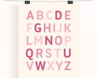 Pink alphabet poster, nursery art print, baby girl nursery print, pink baby nursery decor, kids alphabet nursery wall art, baby shower gift