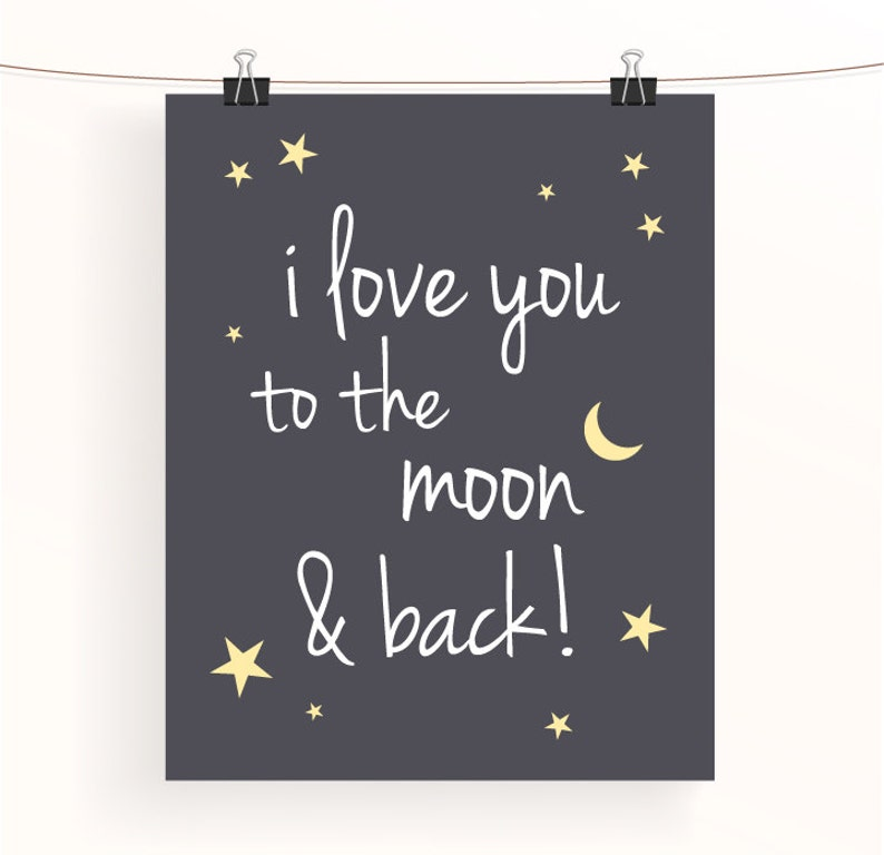 To The Moon And Back White on Grey Typography Nursery Print Baby Bedroom Art