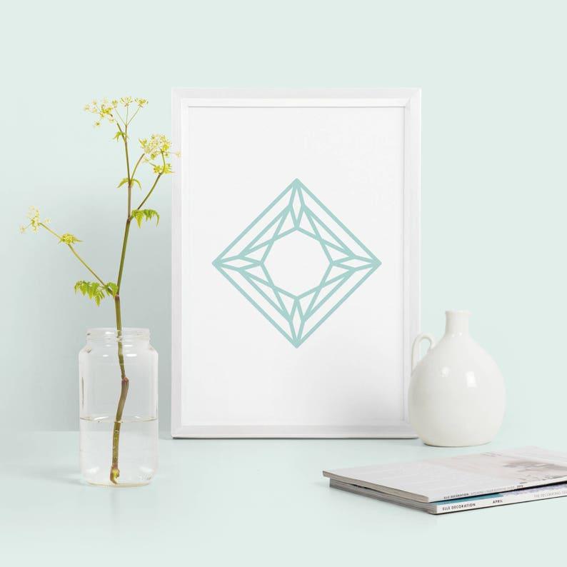 Diamond Abstract Geometric Print Mint Green Geometric Poster Abstract Home Decor Diamond Shape Print Modern Minimalist Print
