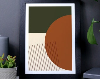 Orange And Green Abstract Shapes Geometric Print, modern wall art, natural earth tones, shapes wall art, minimalist home decor