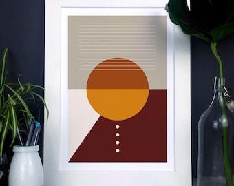 Modern Geometric Print In Orange Natural Earthy Tones, Abstract shapes print, minimal home decor, geometric wall art, housewarming gift