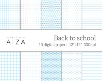 """Back to school - Digital Paper - exercise book, grid paper, graph paper, isometric paper, dotted paper, lined paper, instant download 12x12"""""""