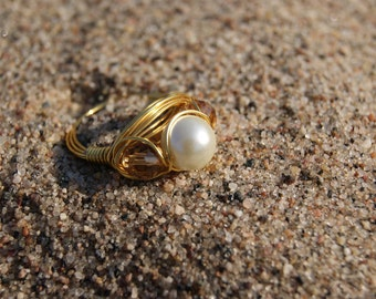 The Hunger Games District 9 Inspired- Gold Wire Wrapped Ring