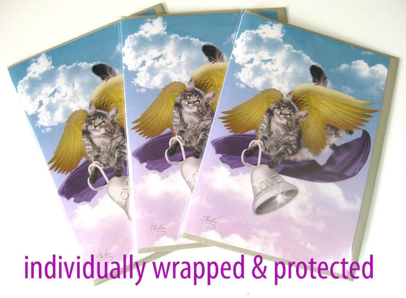 Gray Tabby Cat Angel Love Valentine Blank Card