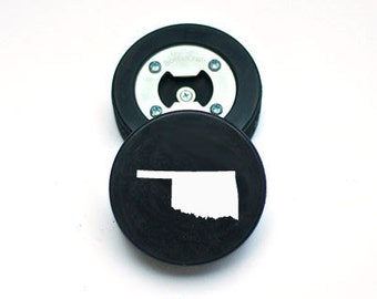 The PuckOpener - Oklahoma - Bottle Opener made from a REAL Hockey Puck