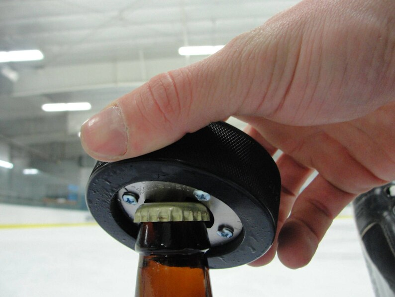 Coworker Gift Husband Gift 60th Birthday Gift Idea Bottle Opener made from REAL Hockey Puck