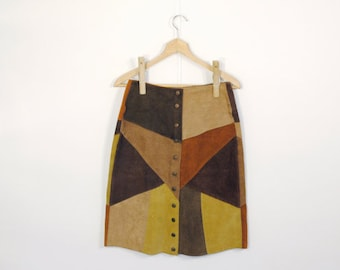 60s Patchwork Leather Skirt