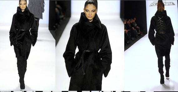 Irina Shabayeva Signature Oversize Coat with back braided details.