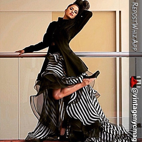 Stripe Print three tiered high low hem long skirt with top by Irina Shabayeva (also available as a dress) worn by Misty Copeland.