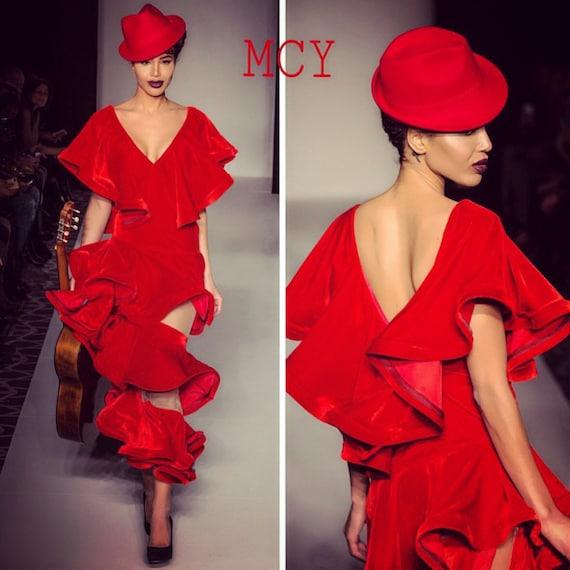 Red Velvet ruffled dress.