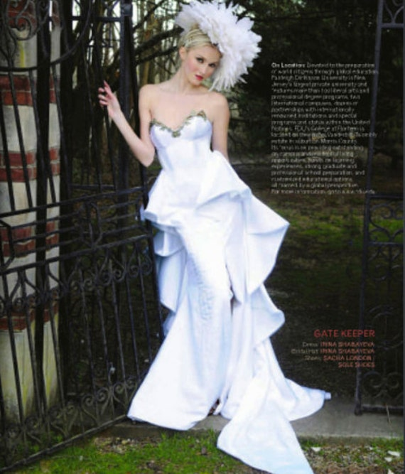 """Irina Shabayeva """"queen Mary"""" bridal gown. Feather head piece is also available!"""