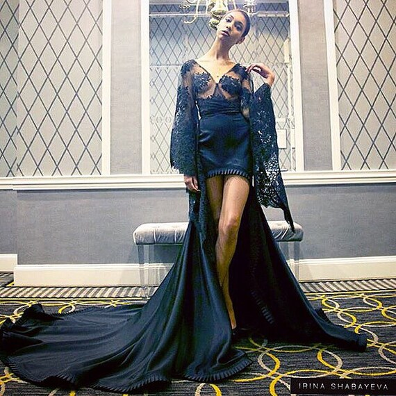 Irina Shabayeva Couture lace kinomo top with black satin high low ball skirt.Comes in white, black , nude , grey, and red.