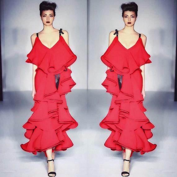 Res Orchid ruffled deep V neckline dress.