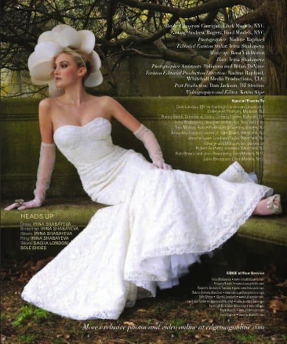 Irina Shabayeva beaded French lace mermaid wedding gown.