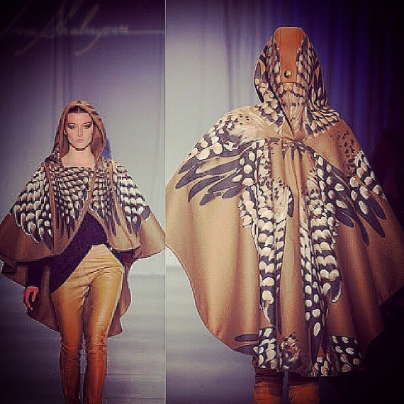 Irina Shabayeva Signature Oversize Camel Cape with silk screen and hand painted large feathers. Short version is 2,995 long version is 5,995