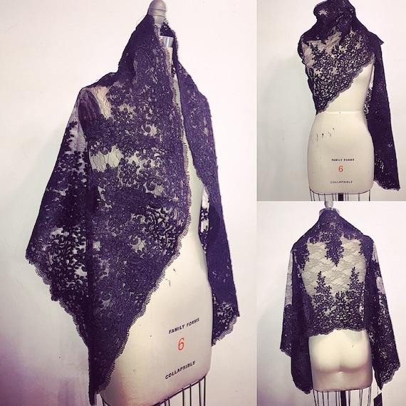Irina Shabayeva Black Lace wrap with scalloped edges.