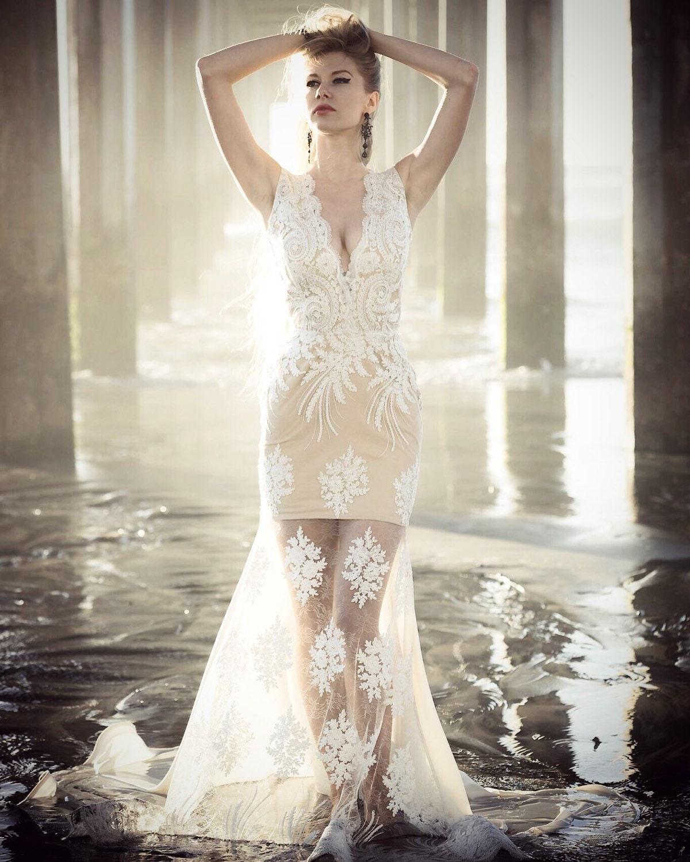1c846df7c85 Irina Shabayeva Couture lace applique gown. Comes in white, black ...